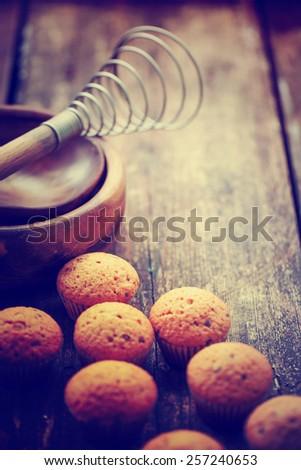 baking ingredient on wood background - stock photo
