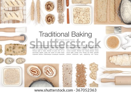 baking ingredients and tools on white background top view - stock photo