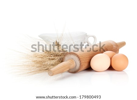 Baking ingredients and utensils. Isolated on white background - stock photo
