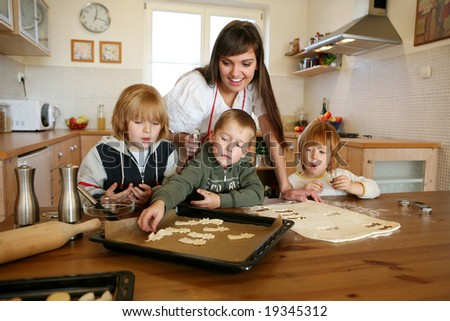 baking together,christmas cookies - stock photo