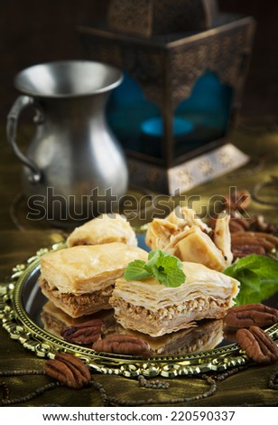 Baklava with honey and nuts. Traditional Turkish dessert. - stock photo