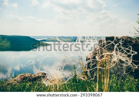 Bakota Park, view of the river Dniester. Ukraine - stock photo