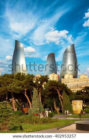 BAKU, AZERBAIJAN - July 16, 2015: panorama Baku city in the morning, Azerbaijan - stock photo