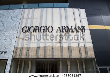 BAKU, AZERBAIJAN May 10 2015: Facade of Giorgio Armani flagship store in Baku on May 10 2015.   - stock photo