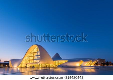 BAKU- JULY 20: Heydar Aliyev Center on July 20, 2015 in Baku, Azerbaijan. Heydar Aliyev Center won the Design Museum's Designs of the Year Award in 2014 - stock photo
