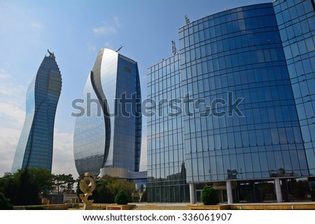 BAKU - OCTOBER 1 : The Oil Foundation skyscrapers at 1 October 2015 in Baku, Azerbaijan. Baku is full of modern buildings built from oil money. - stock photo