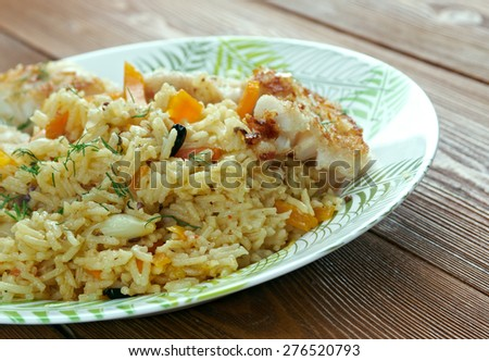 bal���±k plov - fish pilaf.Azerbaijan cuisine - stock photo
