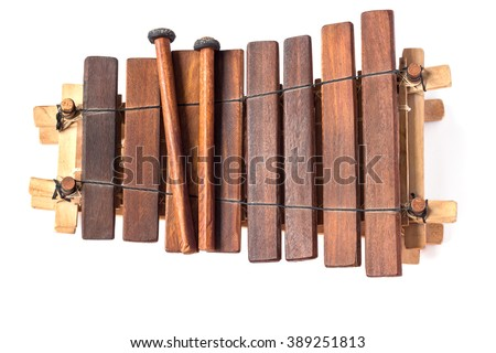 Balafon, african musical instrument of wood and gourds on white background. - stock photo