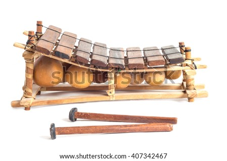balafon - african percussion instrument isolated on white background. - stock photo