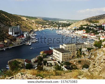 Balaklava town and Balaklava Bay, Crimea, Ukraine - stock photo