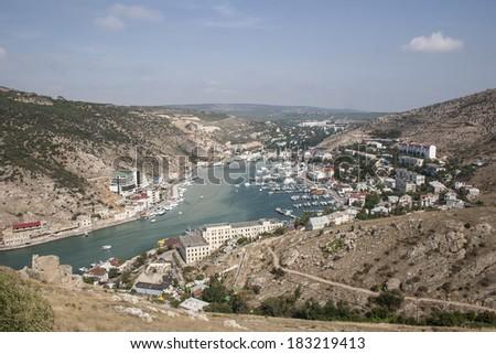 Balaklava town and Balaklava Bay. Vicinity of Sevastopol. Black Sea. Crimea. - stock photo