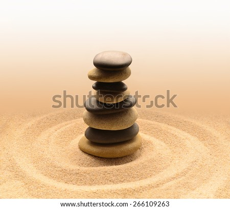 Balance and harmony in zen meditation garden relaxation and simplicity for concentration. Sand and stone.  - stock photo