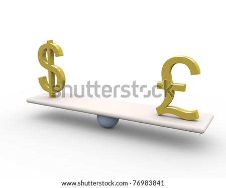 Balance between dollar and pound - stock photo