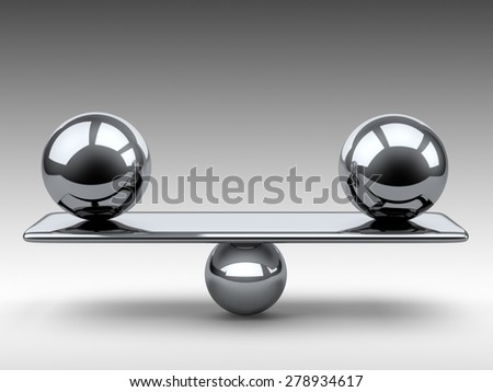 Balance between two large metallic spheres. 3d illustration on a grey background. - stock photo