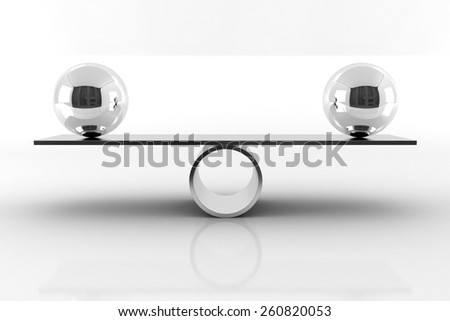 Balance Concept 3D Render Illustration. Balancing Chrome Balls on Seesaw. - stock photo