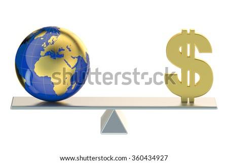 balance concept, world and money - stock photo