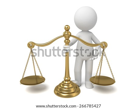 balance/3d people with a gold scale. 3d image. Isolated white background. - stock photo