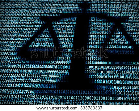 Balance in digital background / A concept of technology law - stock photo