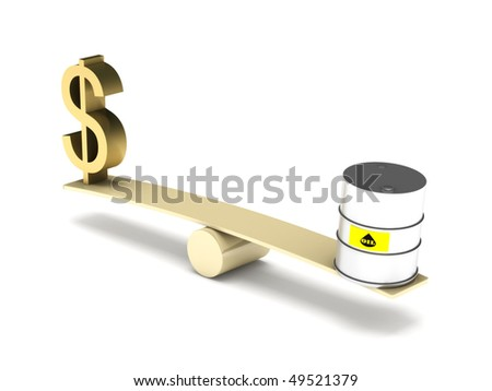 Balance of dollar and oil isolated on white background. High quality 3d render. - stock photo