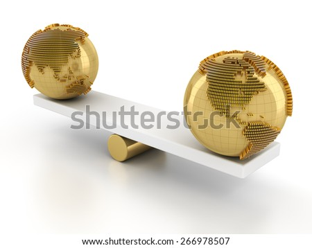 Balance of global financial market, 3d render, white background - stock photo
