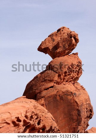 Balance Rock at Valley of Fire - stock photo