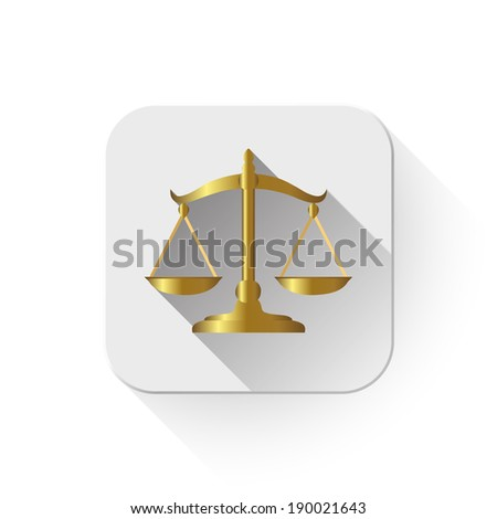 balance scale With long shadow over app button - stock photo