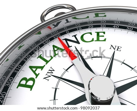 balance towards north green word indicated by compass conceptual image.clipping path included - stock photo