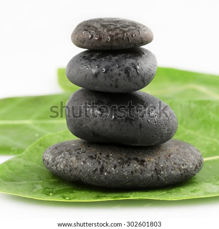 Balanced black zen stones on green leaves - stock photo