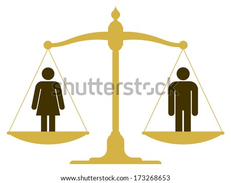 Balanced old fashioned pan scale with a man and woman showing the equality of the sexes illustration - stock photo