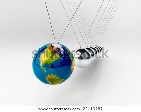 balancing balls Newton's cradle - earth - stock photo