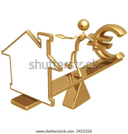 Balancing Blank Home Symbol Outline Sign And Euro - stock photo