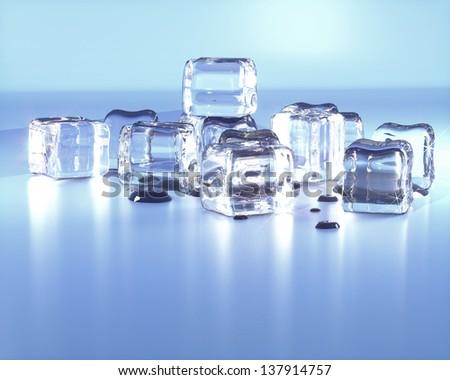 Balancing pile of melting ice cubes, isolated on white background - stock photo