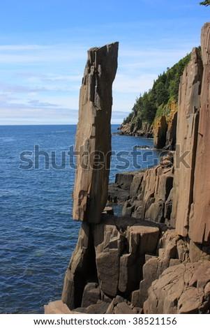 Balancing rock Bay of Fundy - stock photo