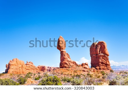 Balancing rock in Arches National Park, USA - stock photo