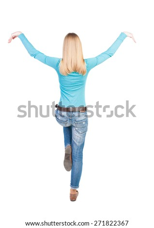 Balancing young woman.  or dodge falling woman. Rear view people collection.  backside view of person.  Isolated over white background. - stock photo