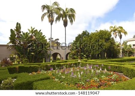 Balboa park gardens in San Diego California. - stock photo