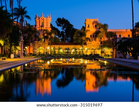 Balboa Park in San Diego California at night - stock photo