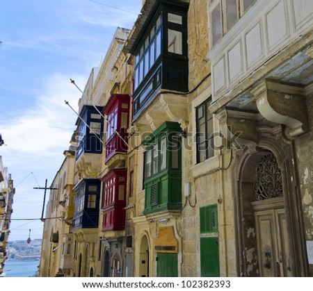 Balconies in Valletta - stock photo