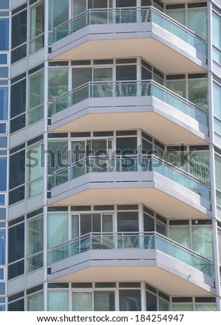 Balconies of Residential building - stock photo