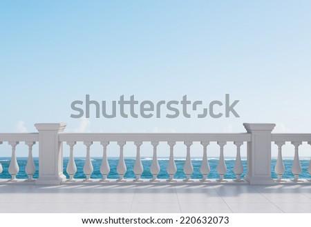 Balcony and sea view under blue sky  - stock photo