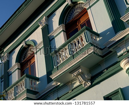 Balcony awaiting.  Granada, Nicaragua restored facade of a 19th century colonial building of this White City's town square - stock photo