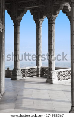 Balcony in Agra Red Fort, India - stock photo