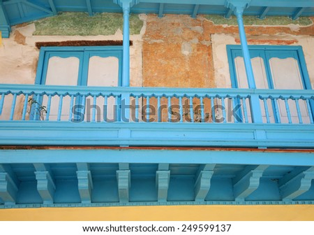 Balcony of a house undergoing restoration in Old Havana - stock photo