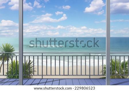 Balcony on south sea beach - stock photo