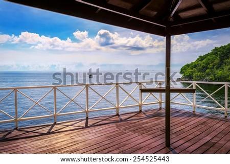 Balcony porch sea view in Trinidad and Tobago island - stock photo
