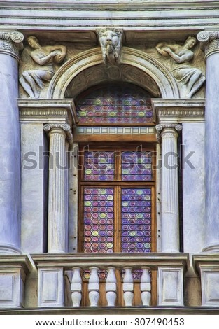 Balcony with Beautiful Stained Glass Window in Saint Mark's Square in Venice, Italy - stock photo