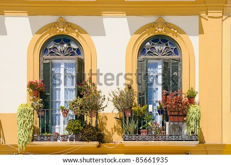 balcony with pots - stock photo