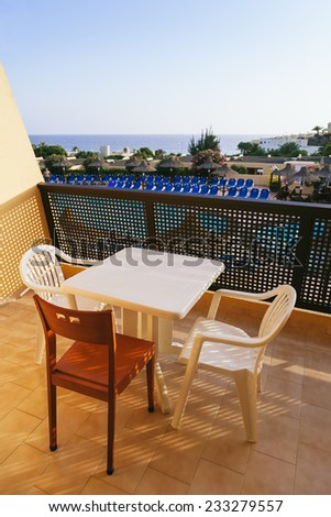Balcony with Sea Views from a Rural Apartment in Mallorca, Spain  - stock photo