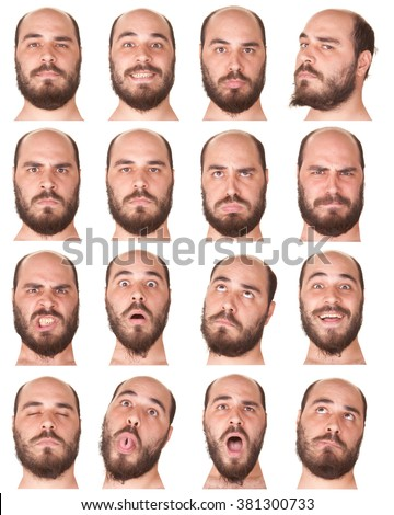 bald beard brunette adult caucasian man collection set of face expression like happy, sad, angry, surprise, yawn isolated on white - stock photo
