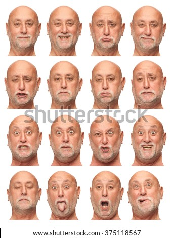 bald beard senior caucasian man collection set of face expression like happy, sad, angry, surprise, yawn isolated on white - stock photo